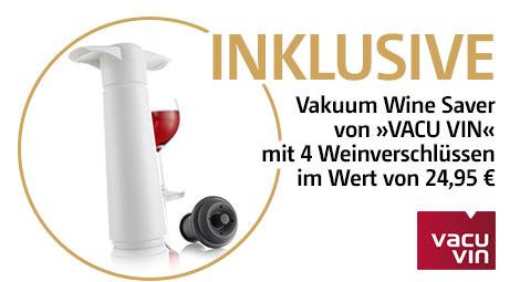 Inkl. Vakuum-Pumpe und Weinverschlüsse