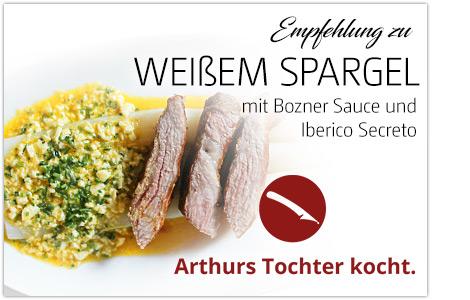 Weißer Spargel mit Bozner Sauce und Iberico Secreto