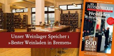 """In der Sonderausgabe des Feinschmecker-Magazins """"Weinläden in Deutschland"""" wurde unser Bremer Weinladen zum """"besten Weinladen in Bremen"""" gewählt."""